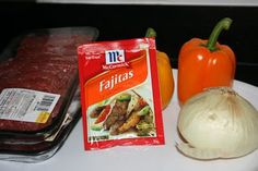 Super Easy Fajitas in Crockpot  2 lbs thin cut stir fry beef,1-2pkg of fajita seasoning mix.1 onion,2 bell peppers,1/2c water. Dump meat into crockpot. Cut the onion and the peppers in strips, and add to the crock. Add the seasoning and water. Cover and cook on low for 8-9 hrs, or high for 6. The meat is done when it reaches desired tenderness.