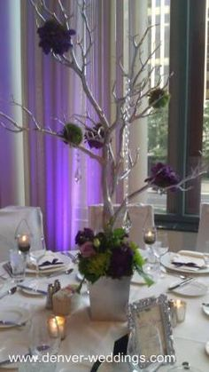 purple silver tree centerpieces