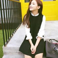 Buy+'MISS+BIG+–+Mock+Two-Piece+3/5-Sleeve+Dress'+with+Free+International+Shipping+at+YesStyle.com.+Browse+and+shop+for+thousands+of+Asian+fashion+items+from+China+and+more!