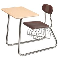 Scholar Craft SC680 Series Sled Base Chair Desk - These popular chair desks feature a 5/8-inch solid Melamine Resin hard plastic seat and back that resists chipping, scratching and fading, providing a stylish and durable classroom seating solution.  Chair desk tops are available with a 5/8-inch Melamine Resin solid plastic surface that's flat and non-angled.  Each desk includes a heavy-gauge, spacious bookrack designed to increase storage space. [SC687S-SPBR]
