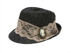Face and Lace Women's Black Fedora Hat, I like the cameo. It's a nice touch!