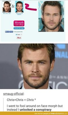 Actually it equals Chris times Chris equals Chris squared.Chris Pratt + Chris Evans = Chris Hemsworth MIND BLOWN<<<<dude my head's spinning don't bring math to marvel Funny Marvel Memes, Marvel Jokes, Dc Memes, Avengers Memes, Funny Memes, Hilarious, Avengers 4 Theories, Thor Meme, It's Funny