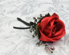Red Rose Boutonniere, Red & Black Wedding Buttonhole, Red and Black Wedding Accessories