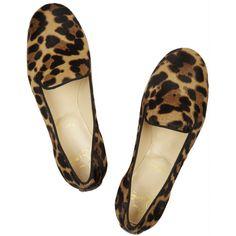 Christian Louboutin Sakouette animal-print calf hair loafers ($750) ? liked  on Polyvore
