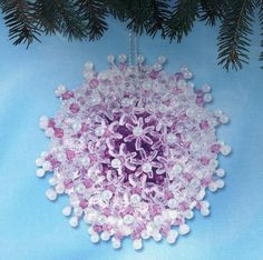 sequin ornament kits   ... FROST AMETHYST set of 2 Beaded Sequin Christmas Ornaments Kit ~ NEW