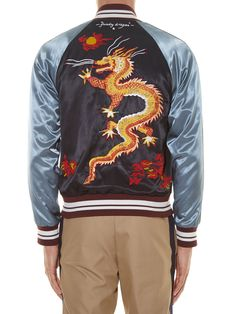 Dragon-embroidered satin baseball jacket | Valentino | MATCHESFASHION.COM US