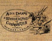 Alice In Wonderland of Curiousities Dreams Digital Image Download Burlap Collage Sheet Transfer To Pillows Totes Tea Towels No. 2273. $1.00, via Etsy.