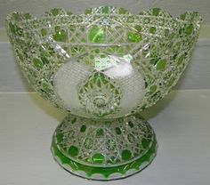 bohemian punch bowl sets | Bohemian emerald and clear pedestal punch bowl. 11 1/2 diameter x 9 1 ...