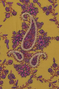 Mustard Kashida Sozni And Tilla Hand Embroidered Suit With Dupatta
