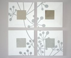 Malm mirror with stenciled flowers