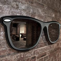I need this, like now : giant sunglasses mirror Cooler Spiegel, Spiegel Design, Cool Mirrors, Unique Mirrors, Yanko Design, Wall Mounted Mirror, Wall Hooks, Black Mirror, Mirror Mirror