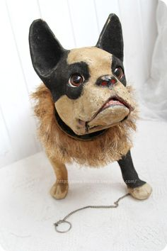 Growling French bulldog.  1900-1910, France. Vintage toy. Antique Toys, Vintage Toys, Virtual Museum, Old Games, Old Toys, Cowboy Boots, French Bulldogs, Antiques, France