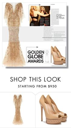 """""""Gold water falls....YAWZAH"""" by vampire-duchess ❤ liked on Polyvore featuring Marchesa, Casadei, GoldenGlobes, fashionset and polyvoreeditorial"""