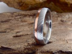 Damascus Steel 6mm Domed Men's Band with by SedgwickDesign on Etsy