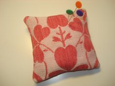 Handmade Sachet Pin Cushion  Antique Turkey Red by backgatecottage