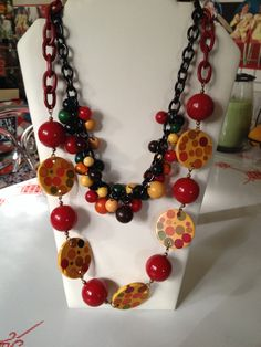 Bakelite polka dot necklaces