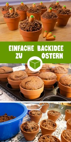 """Easter muffins """"in a potty"""" - simple ba . - A brilliant recipe idea for Easter can be found here. The Easter muffins are baked in small clay pot - Easter Cupcakes, Baking Cupcakes, Baking Recipes, Dessert Recipes, Party Desserts, Halloween Baking, Easter Recipes, Easter Food, Savoury Cake"""