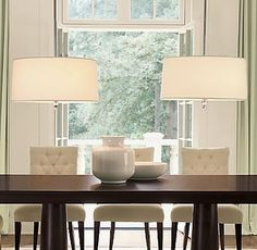 Pearson Pendant from Restoration Hardware - love the tufted dining chairs too Dining Table Pendant Light, Table Design, Decor, Home, Lights Over Dining Table, Cool Lighting, Interior, Tufted Dining Chairs, Dining Table Design