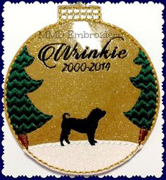 *THIS IS A DIGITAL EMBROIDERY DESIGN - NOT A PHYSICAL PRODUCT This woodland inspired Shar-Pei Felt Ornament is available in hoop sizes:  4x4 -