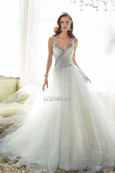 A-Line/Princess Straps Chapel Train Tulle Wedding Dress