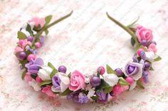 Обруч бело-розово-фиолетовый