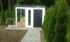 Garden houses. Modern garden house. White garden house.