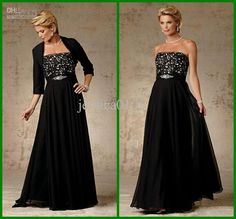 Wholesale Black Plus Size Mother Of The Bride Dresses Strapless Appliques Ankle Length Sexy Gowns Withe Jacket, Free shipping, $167.05/Piece   DHgate