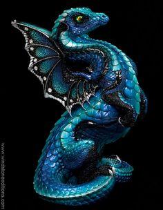 Rising Spectral Dragon - Blue Morpho. Painted Fantasy Figurine, Statue. $320.00 #Dragon #Collectable #Fantasyart