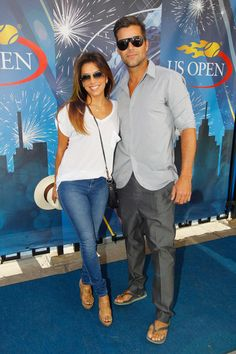 Actress Eva Longoria and [gay] musician Ricky Martin [sweaty pits] attend Day Fourteen of the 2013 US Open at the USTA Billie Jean King National Tennis Center on September 8, 2013 in New York City.