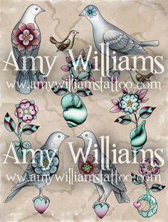 Birds Flowers and Moonlight Tattoo Flash A3 Print by amybird, £20.00