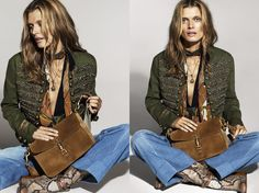 Ad Campaign: Gucci Spring/Summer 2015: Malgosia Bela & Mathias Lauridsen by Mert & Marcus - Polish beauty Malgosia Bela wears hippie-chic looks for the Gucci's Spring/Summer advertising, the seventies-inspired looks of a mix of suede, fur and denim captured by Mert & Marcus. The duo also photograph Mathias Lauridsen for the menswear campaign in black and white imagery for the Italian brand.