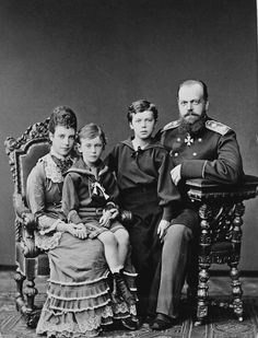 Alexander III and Maria Feodorovna with their sons Grand Dukes George and Nicholas
