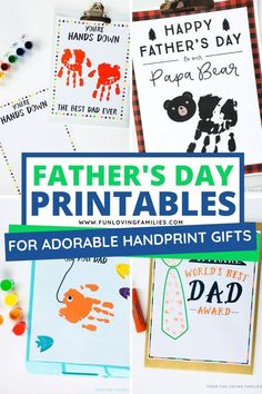 Use our Father's Day printables to create special handprint and fingerprint keepsake gifts for Dad and Grandpa. #fathersday #printables Diy Crafts For Gifts, Crafts For Kids To Make, Free Printable Art, Free Printables, New Home Gifts, Gifts For Dad, Fathersday Crafts, Father's Day Activities, Worlds Best Dad