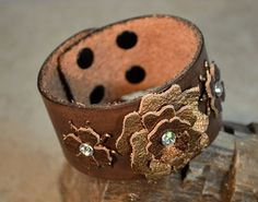 Brown Leather Cuff Bracelet With Bronze Metallic by craftinghooker, $20.00