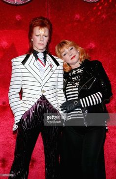 David Bowie wax figure is unveiled by Romy Haag at Madame Tussauds on September 28, 2017 in Berlin, Germany.