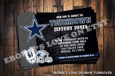 Dallas cowboys baby shower or Digital Birthday by EboniesDesigns Football Baby Shower, Cowboy Baby Shower, Baby Boy Shower, Football Party Invitations, Baby Shower Invitations, Birthday Invitations, Dallas Cowboys Baby, Cowboy Theme, Cowboy Birthday