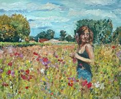Original painting collected artist Samuel Burton Woman collecting meadow flowers