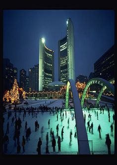 Toronto City Hall and Nathan Phillips Square skating rink Toronto Ontario Canada, Toronto City, Quebec, Calgary, Vancouver, All About Canada, Canada Christmas, Canada Eh, Best Cities