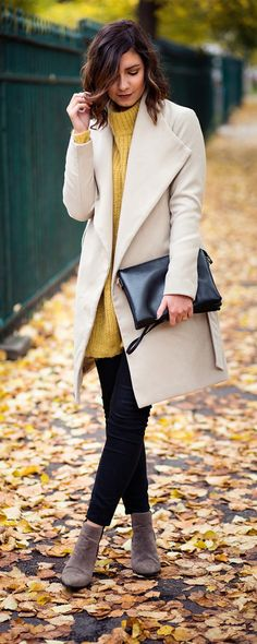 26 Great New Outfits For Your Fall/Winter Fashion. Long Beige Coat, Ankle Boots and Black Skinnies and Bag. 40% Off 1st Order. Discover and shop the latest women fashion, celebrity, street style, outfit ideas, dresses you love on www.shein.com