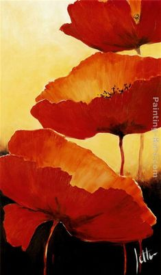 "Gentil Coquelicot Mesdames ♫... #Poppies -- ""Three Red Poppies II"" - By Jettie Roseboom"