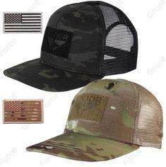 9ae0ebbb8d8 Condor Oudoor Adjustable Flat Bill Brim Mesh Trucker Cap Hat   USA Flag  Patch Tactical Jacket