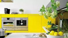 Clean lines and bright colours keep this kitchen looking fresh Kitchen Cart, Kitchen Cabinets, Color Of The Week, Interior, Bright Colours, Home Decor, Clean Lines, Fresh, Yellow