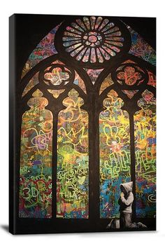 Street Art: Stained Glass Window Graffiti  18inX26in Canvas Print
