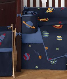 Decorate your nursery with this Boys Space Galaxy Rocket Ship Baby Bedding - 9 Piece Crib Set by Sweet Jojo Designs. It is out of this world! $189.99 #freeshipping