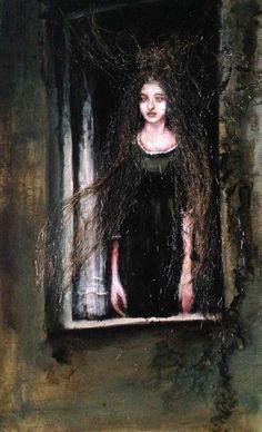 Andrea Lehmann Abendmutter (Evening mother). 2015, oil and hair on paper, 29 x 47 cm