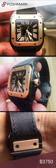 Cartier Santos 100 Rose gold besel. Black case Brand new condition comes with box and papers been just serviced Cartier Other