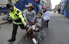 Two blasts were reported near the finish line of the annual 26.2-mile Boston Marathon, resulting in at least three dead and 176 injured. The explosions—the first of which was on the north side of Boylston Street—occurred roughly three hours after the winners crossed the finish line. Traumatically injured spectator 27-year-old Jeff Bauman Jr, shown here, had to have both lower limbs removed at Boston Medical Center because of extensive vascular and bone damage.