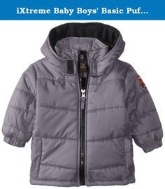 iXtreme Baby Boys' Basic Puffer, Charcoal, 24 Months. Hooded solid rip stop puffer.