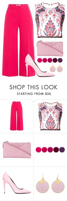 """bright"" by etheriz-ed ❤ liked on Polyvore featuring MSGM, Givenchy, Deborah Lippmann, Alexander Wang, Pink, Pumps, bright and palazzopants"