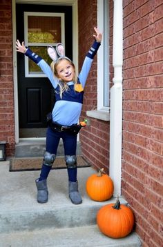 DIY Judy Hopps Costume from Zootopia How to make your own Officer Judy Hopps costume for kids Baby Girl Halloween, Halloween Costumes For Girls, Girl Costumes, Halloween Kids, Costume Ideas, Costume Halloween, Zootopia Halloween Costumes, Costume For Kids, Kids Costumes Girls